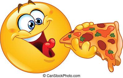 Emotické jídlo pizzy