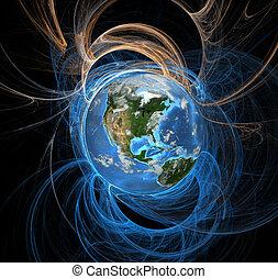 Energické pole, Země na západ