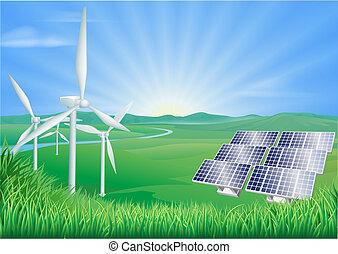 energie, obnovitelný, ilustrace
