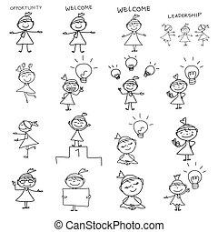 eny povolání, kreslení, pojem, rukopis, karikatura, šťastný