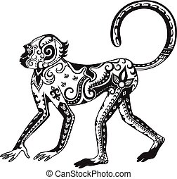 etnický, opice, okrasa