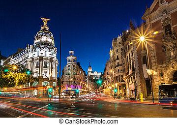 europe., přes, babička, madrid, španělsko