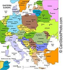 evropa, editable, země, jména, východní