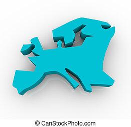 evropa, mapa, konzervativní, -