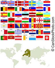 evropa, mapa, země, ilustrace, vektor, flags.