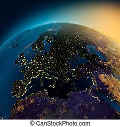 evropa, satellite ohledat, večer