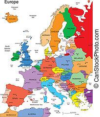 evropa, země, editable, jména