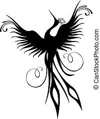 fénix, ptáček, figura, osamocený