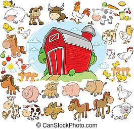 Farmářská zvířata navrhují vektor