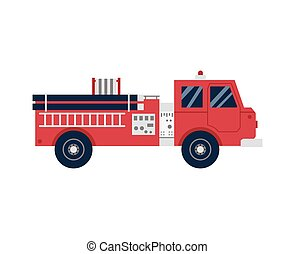 firetruck, ikona, vůz, firefighting, karikatura, vektor, ilustrace, isolated., nebo, byt