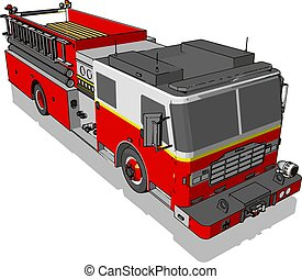 firetruck, ilustrace, neposkvrněný, vektor, grafické pozadí.