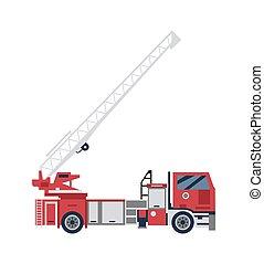 firetruck, osamocený, žebřík, červeň, karikatura, vektor, ilustrace, byt, big