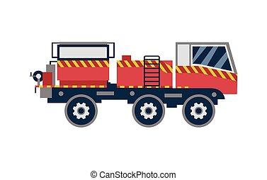 firetruck, výprask, osamocený, červeň, karikatura, vektor, ilustrace, neposkvrněný, byt