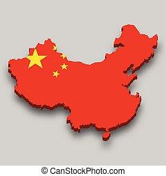 flag., 3, isometric, národnostní, čína, mapa