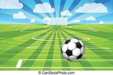 Fotbal ležící na trávě