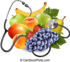 Fruit s stetoskopem. Zdravá chuť na jídlo. Vektor.