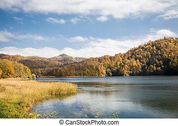 ganja, krajina, barvitý, azerbaijan., jezero, goy-gol, ohromení, (blue, les, hora., podzim, názor, večer, lake), bezvětrný