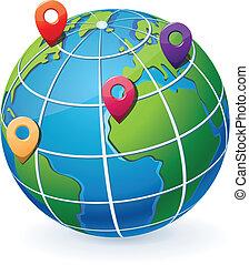 Globe s umístěním