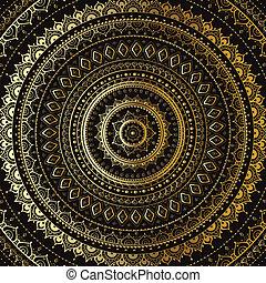 Gold Mandala. Indické dekorační vzor.