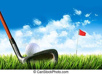 golf koule, pastvina, čaj