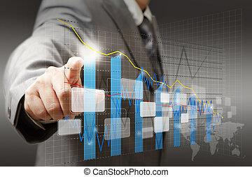 graf, diagram, obchodník, dotyk, graf, skutečný, rukopis