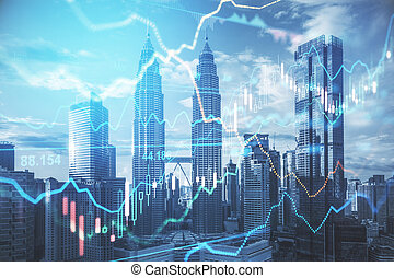 graf, grafické pozadí, pojem, povolání, obchod, finanční machinace, město, kmen, graf, diagram, megapolis