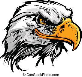 Grafická hlava vektoru plešatého orla