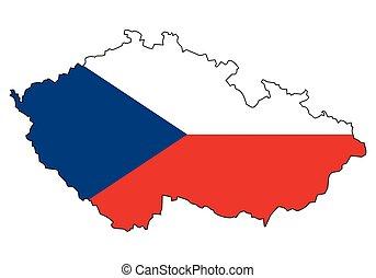 grafické pozadí, -, celostátní mapovat, nárys, udat, neposkvrněný, republika, prapor, čech vlaječka