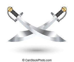 grafické pozadí, dva, kříž, meč, neposkvrněný, pirát