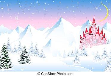 grafické pozadí, hory, zima, věž, pohádka, les, sněžný, víla