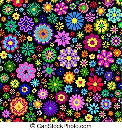 grafické pozadí, květ, čerň, barvitý