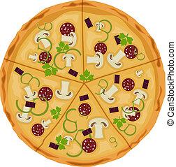 grafické pozadí., neposkvrněný, pizza, isolate.