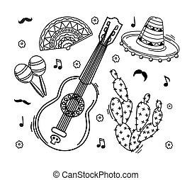 grafické pozadí., style., základy, maracas, kultura, neposkvrněný, sombrero, vector., mexičan, nárys, kytara