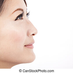 grafické pozadí, uzavřít, osamocený, čelit, neposkvrněný, manželka, kráska, up, asijský