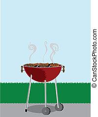 gril, vaření, mimo, pokrytý, bbq, hotdogs