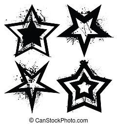 grunge, dát, hvězda