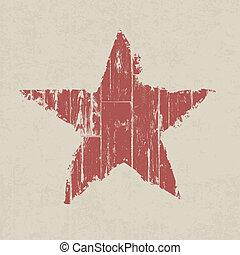 grunge, star., vektor, eps10., červeň