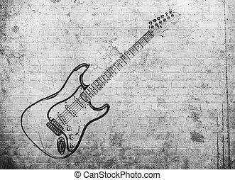 grunge, val, plakát, hudba, balvan, cihlový