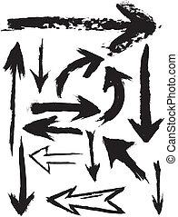 grunge, vektor, šípi, kartáč