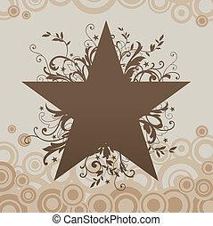 grunge, vektor, hvězda