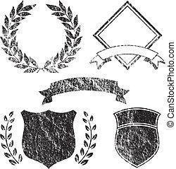 grunge, základy, prapor, emblém