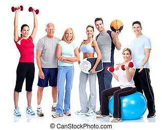 Gym a fitness. Smiling people.