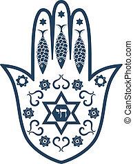 hamsa, židovský, -, amulet, svatý, mir, nebo