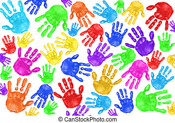 handpainted, děti, handprints