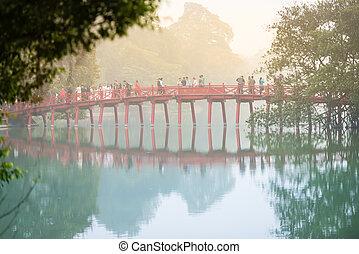 hanoi, můstek, fog., vietnam., národ