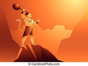 Hanuman stojí na hoře