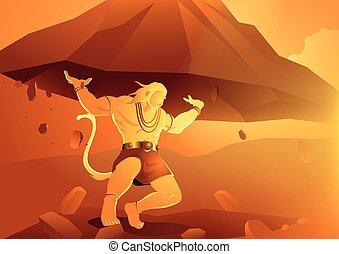 Hanuman zvedá dronagirskou horu