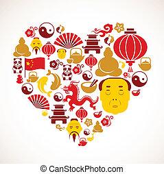 heart tvořit, čína, ikona