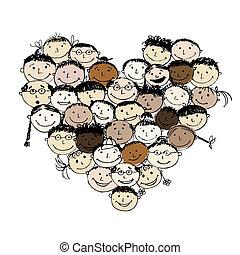 heart tvořit, národ, design, tvůj, šťastný