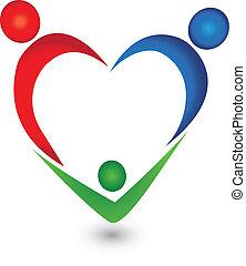 heart tvořit, vektor, rodina, emblém